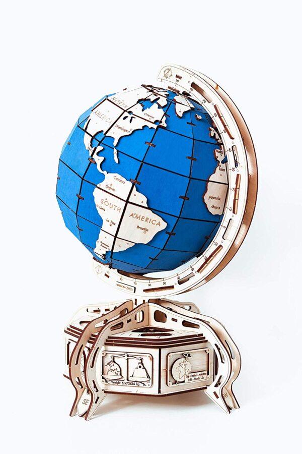 Globus aus Holz blau - Holzbausatz – 3D Puzzle, 393 Teile