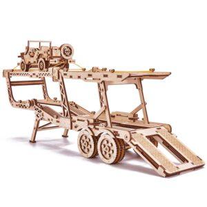 Modell aus Holz – Anhänger für Autotrasport – Autotrasporter für Big Rig , 229 Teile
