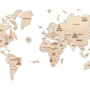 Weltkarte groß aus Holz, Holzbausatz für Bastler , 100 x 60 cm.,64 Teile