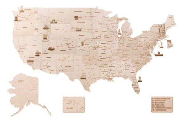 Wood-Trick-Weltkarte-XXL-USA-aus-Holz-Holzbausatz-Weltkarte100-Teile1325-x-800-x-18-cm1