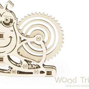 Holzbausatz für Kinder mit mechanischer Bewegung Schnecke, 10 Teile