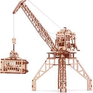 Wood Trick Holzbausatz -Kran mit Behälter – Modell aus Holz, 288 Teile