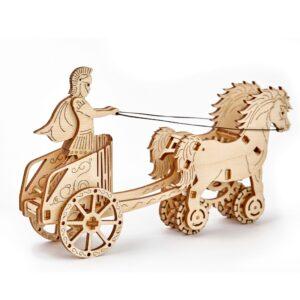 Wooden City – Holzpuzzle 3D für Kinder – Römischer Streitwagen mit zwei Pferden und Gladiator, 69 Teile