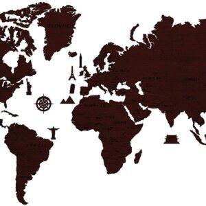 Weltkarte aus Holz sehr groß in Farbe dunkle Eiche 120 x 200 cm.