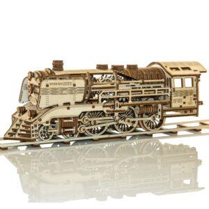 Wooden City Mechanische Dampflokomotive aus Holz – Zug aus Holz mit Schienen – 3D Holzbausatz, 384 Teile