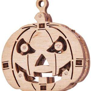 Wood Trick Woodik Kürbis Holzbausatz Modell aus Holz für Kinder. Dies Holzmodell kann als Deko für Halloween dienen.