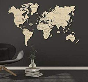 Weltkarte aus Holz , sehr groß 120 x 200 cm. von Wooden City
