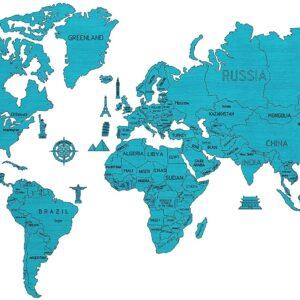 Sehr große Weltkarte aus Holz in Farbe Blau.