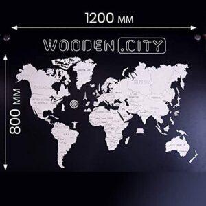Wooden City – Lernpuzzle –Weltkarte aus Holz XL groß – blau – 46 Teile