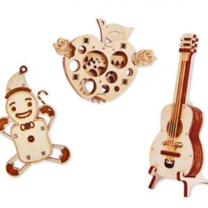 Wood Trick - Holzbausätze für Kinder Set Gitarre, Apfel und Lebkuchen
