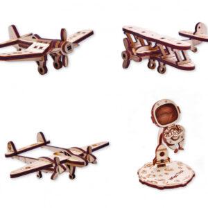 Wood Trick Woodik - Holzbausätze für Kinder Set 3 Flugzeuge + 1 Austronaut