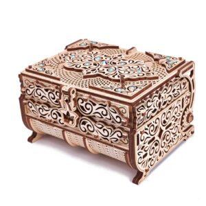 Wood Trick – Schatzkiste mit Swarovski®-Kristallen – Modell aus Holz für Bastler