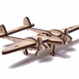 Wood Trick – Woodik Modell aus Holz Flugzeug für Kinder – Holzbausatz Flugzeug '' Der Blitz''_2
