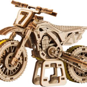 Wooden City – Modell aus Holz Motorrad Motocross – Holzmodell für Kinder – Modellbau für Kinder ohne Klebstoff, Mototcross